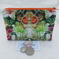 Women's Script Wallet Cosmetic Jewelry Pouch - Lily's with Orange accents