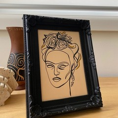 """Frida Kahlo Reigns"" Framed Line Drawing Artwork"