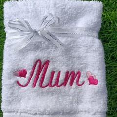 MUM Embroidered washcloth