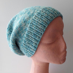 Turquoise Sage Slouchy Cap for Small to Medium Adult Size Ready to Ship