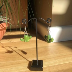 """Mini Prickly Cactus"" Handmade Drop Earrings"