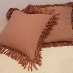 Terracotta Fringed Cushion Cover