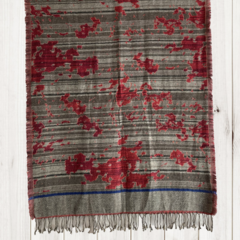 Grey & Red Stripe Unique Design Wool Jacquard Shawl with Tassles by Sen Saish