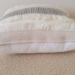 Cream and Beige Fringed Cushion Cover