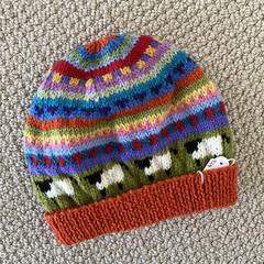 Orange sheep Beanie - to fit size 4-8 years -hand knitted