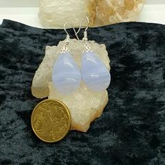 Blue Lace Agate Teardrop Dangle Earrings