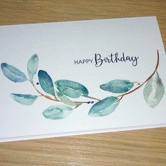 Birthday card or Mothers Day Card - watercolour eucalyptus