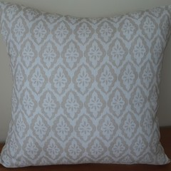 Taupe and White Hamptons Cushion Cover