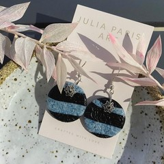 Textured Granite and Black Handmade Drop Earrings