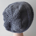 Unisex Gray Slouchy Cap With Turn-Up Band For Men or Women