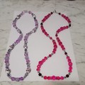 2 Brand New Handmade Purple and Pink Crystal Necklaces $30 Each