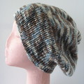 Brown Blue and Cream Slouchy Hat in Medium to Large Adult Size Ready To Ship