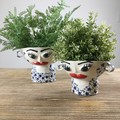 Ceramic Pot Plant Set/ Handmade Face Planter Set / 2 Girls Planters/ Gift