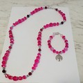 Brand New Handmade Pink Crystal Necklace and Bracelet Set