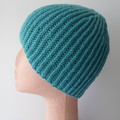 Turquoise / Teal Wool Beanie for Teenager or Small Size Adult - Ready to Ship