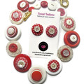 Red and white button necklace and matching stud earrings - Red Spot