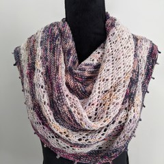 Large Striped Merino Lace Shawl