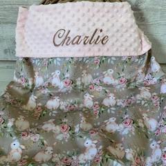 Personalised minkie blanket, baby blanket, pram blanket, bunnies print
