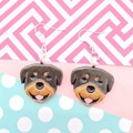 Rottweiler Rotty Dog Resin Earrings Jewellery