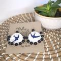 Blue Bird Fabric Earrings
