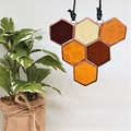 Honeycomb Triangle Stained Glass Suncatcher 10x10cm - Add a Bee!