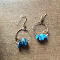 Sodalite Gemstone Heart Dangle Earrings