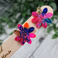Zesty Flower Power Glitter Resin Button Stud Earrings