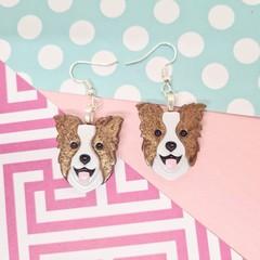 Border Collie Dog Resin Earrings Jewellery