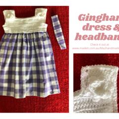 Purple Gingham Dress with matching headband