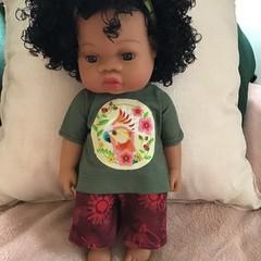 Indigenous print Shorts set for 33cm/13inch doll Burgundy/khaki