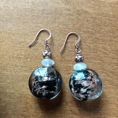 Rose Quartz Gemstone Deco Dangle Earrings