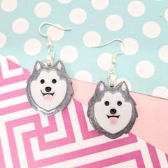 Husky / Malamute Dog Resin Earrings Jewellery