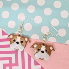 English British Bulldog dog Resin Earrings Jewellery