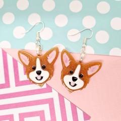 Corgi Dog Resin Earrings Jewellery