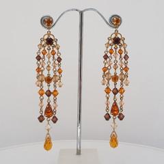 Brown and Topaz Swarovski Crystal Chandelier Earrings