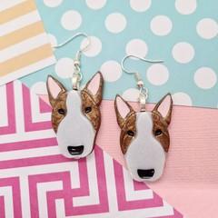 Bull Terrier Dog Resin Earrings Jewellery