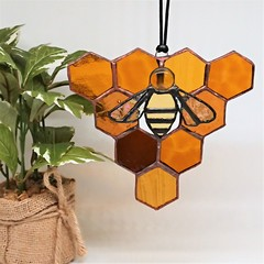Honeycomb and Bee Triangle Stained Glass Suncatcher 14x14cm