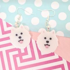 Samoyed Spitz Dog Resin Earrings Jewellery