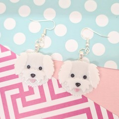 Maltese Dog Resin Earrings Jewellery