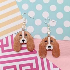Cocker Spaniel Dog Resin Earrings Jewellery