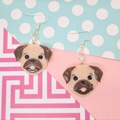 Pug Dog Resin Earrings Jewellery