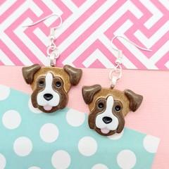 Boxer Dog Resin Earrings Jewellery