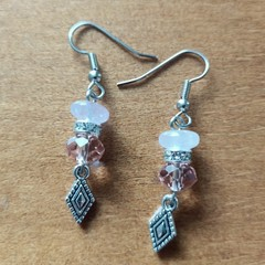 Rose Quartz & Swarovski Crystal Bead Gemstone Boho Dangle Earrings