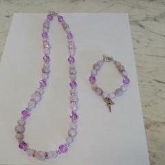 Brand New Handmade Purple Kunzanite and Crystal Necklace and Bracelet Set