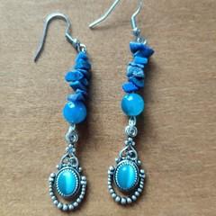 Sodalite & Blue Agate Gemstone Boho Fancy Dangle Earrings
