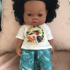 Indigenous print Shorts set for 33cm/13inch doll Aqua,white