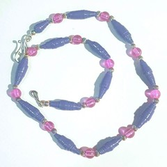 Necklace.  Beaded with paper beads & pink glass beads, light & easy to wear