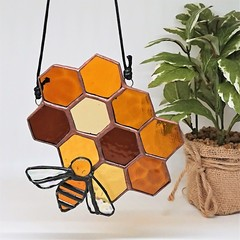 Honeycomb and Bee Stained Glass Suncatcher 15x14cm