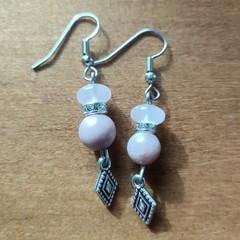 Rose Quartz, Rhodonite & Swarovski crystal beadGemstone Boho Dangle Earrings