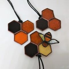 Honeycomb Mini Stained Glass Suncatcher 7x7cm - Add a Bee!